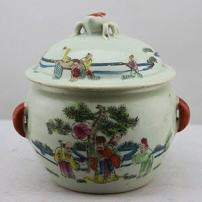 Chinese Asian Antique Porcelain Pot Decorated Old Jar with Lid #8