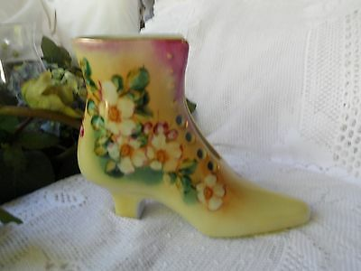 Limoges Porcelain Boot Beige Background  Flowers  and Gold Accents - New
