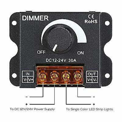 DC12V/24V 30A 2CH LED Switch Dimmer Controller For 5050 Led Strip Single Color