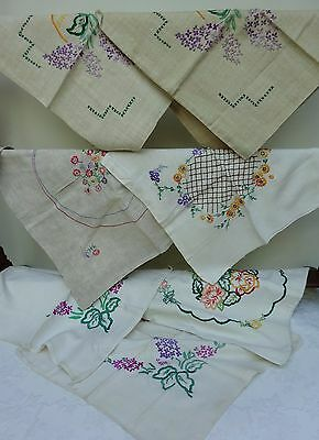 7 x Vintage Embroidered Feedsack Cushion Covers Sack Fabric Needlework 30's 40's