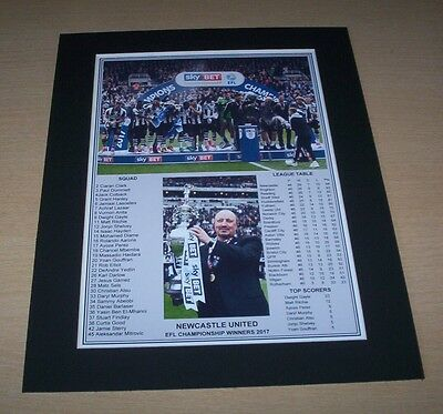 Newcastle United - 2017 EFL Championship Champions Winners Print Mounted To A4