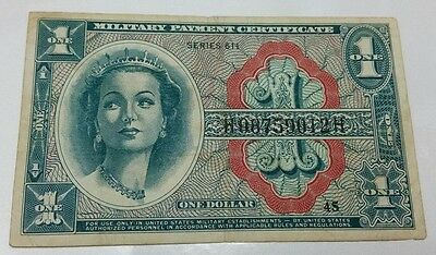 Series 611 $1 One Dollar Mpc Military Payment Certificate