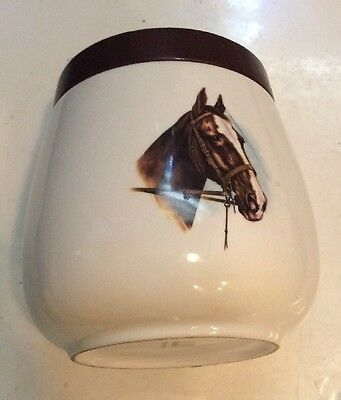 "Alfred Dunhill Vintage Ceramic  5 1/4 x 4"" Tobacco Humidor Jar Equestrian Horse"