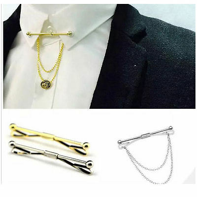 Mens Neck Tie Shirt Pin Tie 6 cm Collar Bar Chain Silver Gold Clasp Boys Gift UK