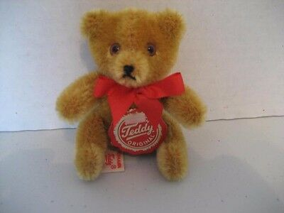 """Hermann 3"""" Old Gold Bendable Mohair Teddy Bear - Made In Germany"""