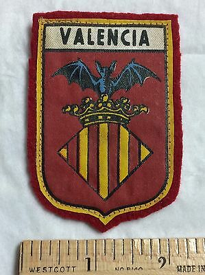 VALENCIA Spain Espana Bat Crown Crest Coat of Arms Souvenir Felt Patch Badge