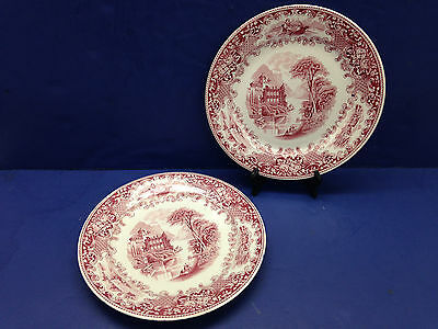 "2 Royal Sphinx Cambridge Old England Holland 9 1/4"" Plate Transfer Ware Red"