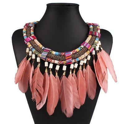 Braid Multicolor Rope Chain Pink Feather Tassel Statement Choker Collier