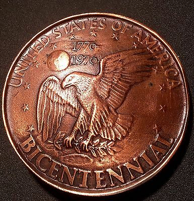 "Large Vintage United States Bicentennial Coin Belt Buckle 3"" Indiana Metal Craft"
