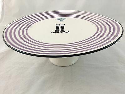 CMG Made in Portugal Halloween HP Witch Socks and Shoes Pedestal Cake Plate NWT