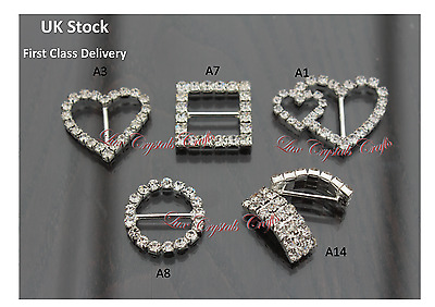 Grade A Diamante Crystal Ribbon Buckle Sliders  Wedding Embellishments