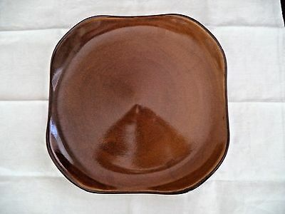 Russel Wright 15in square platter chop plate rich brown '50s modern Oneida china
