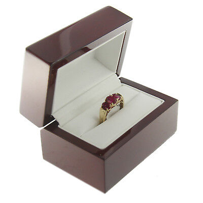 Deluxe Cherry Rosewood Double Ring Box Display Wood Wooden Jewelry Gift Box
