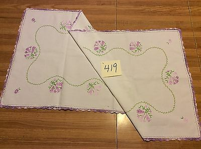"30"" X 16"" Vintage Linen Runner Embroidered Crocheted"