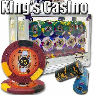 NEW 600 King's Casino 14 Gram Pro Clay Poker Chips Acrylic Carrier Set Pick Chip