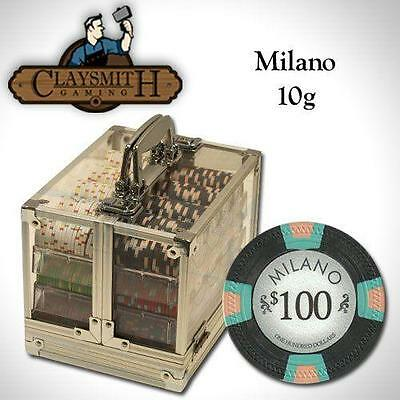 NEW 600 PC Milano Pure Clay 10 Gram Poker Chips Acrylic Carrier Set - Pick Chips