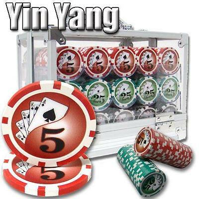 NEW 600 PIECE Yin Yang 13.5 Gram Clay Poker Chips Acrylic Carrier Set Pick Chips