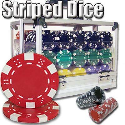 NEW 600 Piece Striped Dice 11.5 Gram Poker Chips Set Acrylic Carrier Pick Chips
