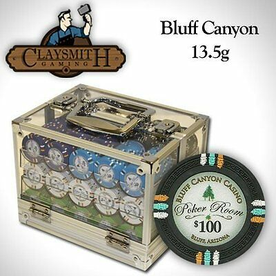 NEW 600 PC Bluff Canyon 13.5 Gram Clay Poker Chips Acrylic Case Set Pick Chips