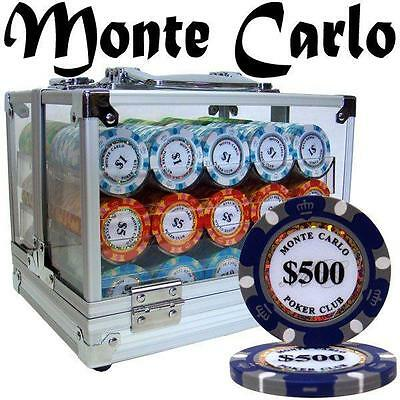 NEW 600 PC Monte Carlo 14 Gram Clay Poker Chips Acrylic Case Pick Chips
