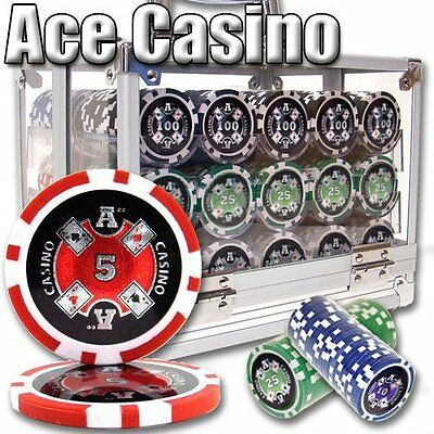 NEW 600 PC Ace Casino 14 Gram Clay Poker Chips Acrylic Carrier Set - Pick Chips