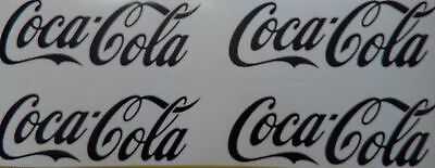 """Set of 4 Coca Cola Decals Black,Red & White Color size 9.0"""" x 3.0""""  Made in USA"""