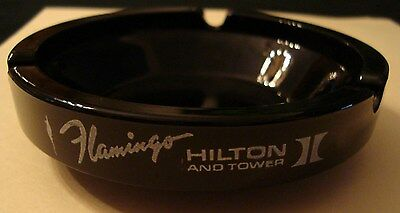 FLAMINGO Hilton And Tower Hotel Casino Las Vegas Round Black Ashtray