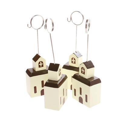 10pcs Brown Church House Photo / Memo / Note Clip Stand Support de carte