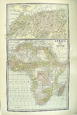 c 1890 Map of the Africa by George F Cram ~ Map Full Color Lithograph Engraving