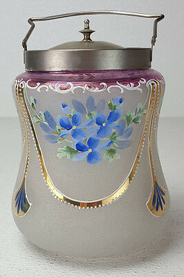 Antique Art Glass Biscuit Cracker Jar Glass Enamel Painted Blue Forget Me Not