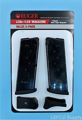 NEW Ruger LC9 LC9s EC9s Magazine w/Extension 7-Round RD 9mm Value 2-Pack 90642
