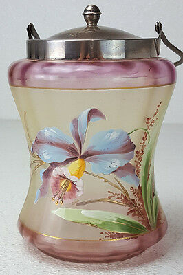 Antique Art Glass Biscuit Cracker Jar Glass Enamel Hand Painted Iris Concave