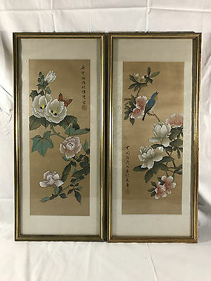 Pair Of Chinese Silk Paintings Flowers Bird Butterfly Mid Century