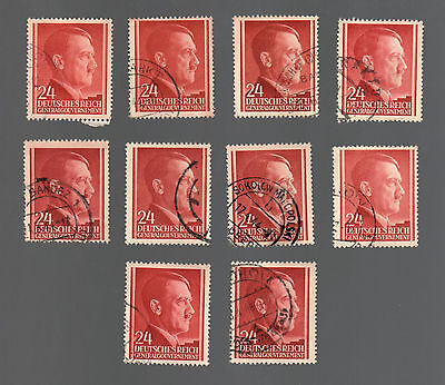 WWII Occupied Poland - Lot of 10 Stamps 24 Grosze with Hitler's Head - #5