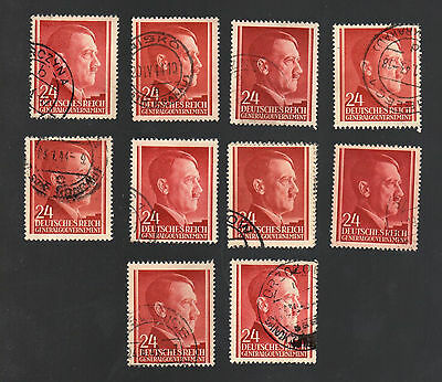 WWII Occupied Poland - Lot of 10 Stamps 24 Grosze with Hitler's Head - #10