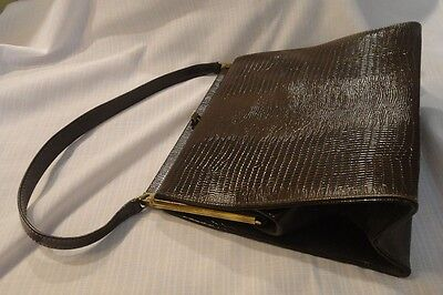 Vintage brown alligator Kelly handbag large structured crocodile bag 50s purse