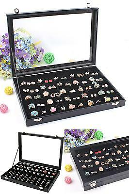 Glass Top 100 Slot Ring Storage Box Jewelry Tray Display Box Storage Stackable