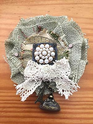 Shabby MAGNOLIA flower BROOCH pearl buttons VICTORIAN Gypsy Jute Olive Maiden