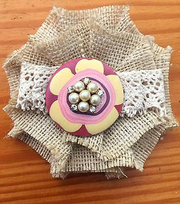 Shabby MAGNOLIA flower BROOCH pearl buttons VICTORIAN Gypsy Natural Jute Maiden