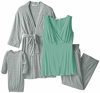 Everly Grey Womens Maternity Roxanne Nursing Pajama Pant Set with Baby Gown, Sea