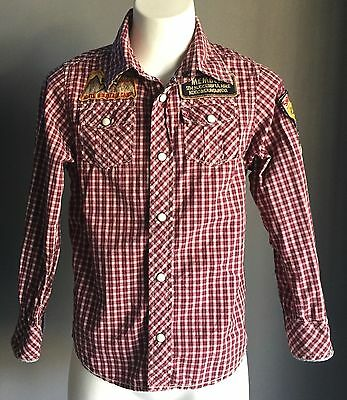 Pre-owned SCOTCH & SODA Red, Black & White Check Boys Shirt Size 6