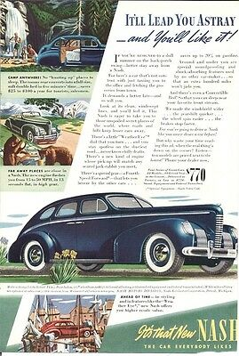 Nash 4 Door Sedan Roomy Rear Converts to Full Size Double Bed Vintage Ad 1939