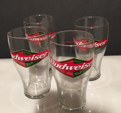 Budweiser On Tap Pint Beer Glass Classic Draught Glass Set/lot Of 4