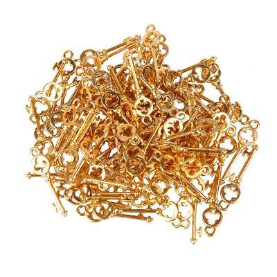 100 Antique Gold Flower Key Charms for Jewelry / Card Making / Scrapbooking