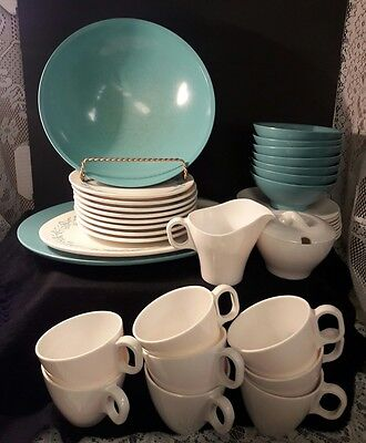 Boonton Ware Melmac Vingage Plates, Cups, Saucers, Creamer, Sugar, Platter~36 pc