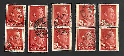WWII Occupied Poland - Lot of 10 Stamps 24 Grosze with Hitler's Head - #11