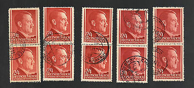 WWII Occupied Poland - Lot of 10 Stamps 24 Grosze with Hitler's Head - #12