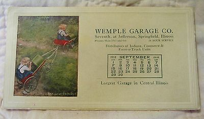 Vintage Advertising Ink Blotter - Wemple Garage Co. Springfield, Ill. - 1918