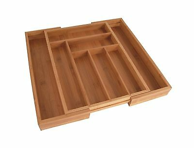Totally Bamboo Large Expandable Cutlery Tray & Drawer Organizer 8 Compartment...