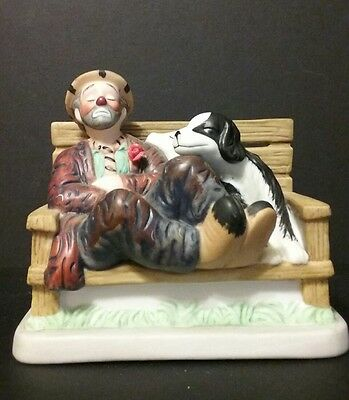 The Original Emmett Kelly Circus Collection Clown And Dogs On Bench LE